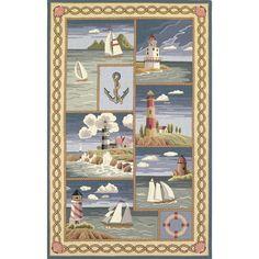 KAS Oriental Rugs Colonial Coastal Views Nautical Novelty Rug