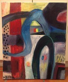 Old Mid Century Fine Art Oil Painting Listed Artist Surrealist