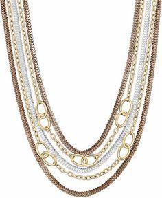 Alfani Tri-Tone Multi-Chain Frontal Necklace