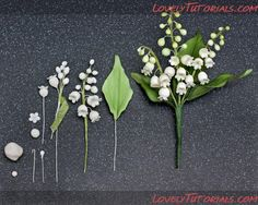 photo tutorial DIY polymer clay - lily of the valley flower