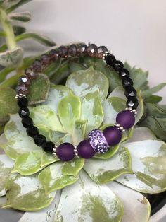 Violettes Glitzer Armband   Etsy Etsy, Glass Beads, Bracelet, Schmuck