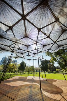 The 2015 MPavilion designed by British architect Amanda Levete has opened to the public in Melbourne's Queen Victoria Gardens.