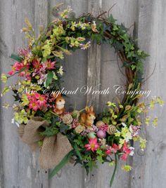 Spring Garden Bunny Wreath by NewEnglandWreath