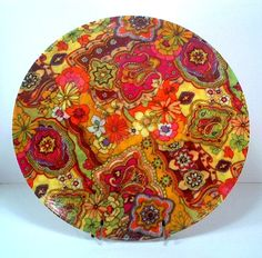 60's fiberglass psychedelic paisley flower power bowl