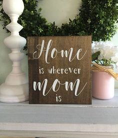 Diy rustic wood signs home is wherever mom is mom sign gift for mom sign for mom wood sign gift for mom mothers day gift rustic wood diy rustic wooden Mothers Day Signs, Mothers Day Decor, Signs For Mom, Mothers Day Crafts For Kids, Great Mothers Day Gifts, Mother Day Gifts, Happy Mothers, Diy Gifts For Christmas, Diy Gifts For Mom