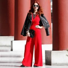 Get this look: http://lb.nu/look/8495009  More looks by Redhead Illusion by Menia: http://lb.nu/redheadillusion  Items in this look:  Mango Leather Jacket, Denny Rose Necklace, Bsb Jumpsuit, Steve Madden Bag, Peter Pilotto Sunglasses   #chic #elegant #street #redheadillusion #redhead #redhair #style #classy #classic