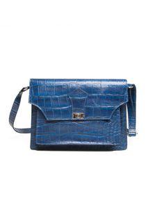 63086a7e9 Bolsa de couro carteiro Victoria azul royal - LEPRERI - Leather handbag  messenger made in brasil