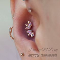 """Marquis in the morning From - The most magical conch piercings in San Francisco. We chose a pair of """"Triple Marquise Fans"""" from in rose gold with mercury mist topaz. Bvla Jewelry, Conch Jewelry, Conch Earring, Fine Jewelry, Women Jewelry, Jewellery, Conch Piercings, Double Ear Piercings, Peircings"""