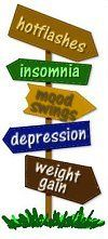 """A road sign depicting different symptoms of perimenopause.  Okay, ladies - menopause/perimenopause are a common side effect of chemotherapy. Time to learn up on it! Many """"symptoms"""" that we fear are relapse or cancer growth can be explained by this pesky hormonal issue."""