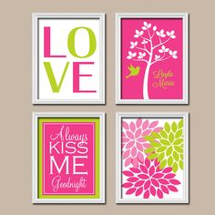 Girl Nursery Tree Hot Pink Lime Custom Girl Name Wall by TRMdesign. But sub aqua for green and maybe initial