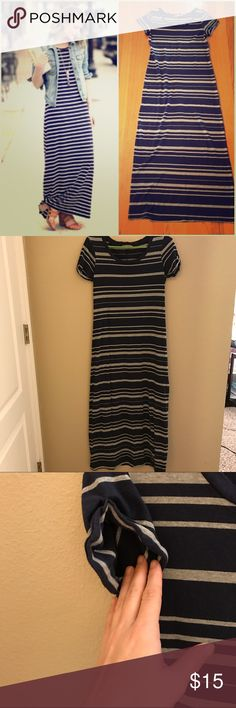 """Gap Maxi Striped tee shirt dress Super soft maxi dress from Gap in like new condition (worn once). Navy blue with grey stripes, scoop neck, short sleeves, and sleeve hems are rolled and sewn. Size Small fits true but could work on an XS if you want a looser fit. When laying flat: 16.5"""" across armpits, 53.5"""" long. 55% cotton, 45% modal so it has some stretch and it really slimming. Check out the rest of my closet and bundle for a discount! (Left cover photo is style inspo only--rest are my…"""