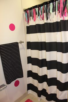 custom dorm shower curtain DIY ribbon border Ole Miss Dorm : Black Gold Tiffany Pink | Sorority and Dorm Room Bedding