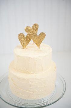 Gold glitter heart wedding cake topper by emilysteffen on Etsy, $3.00