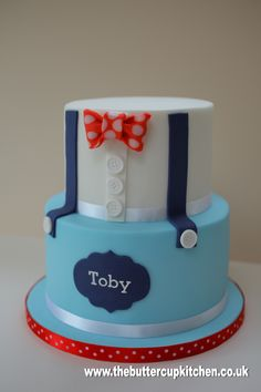 Two tier Boys cake with braces and bow tie - suitable for a birthday or… Torta Baby Shower, Fondant Cakes, Cupcake Cakes, Cupcakes, Baby Boy Cakes, Cakes For Boys, Bow Tie Cake, Little Man Cakes, Christening Cake Boy