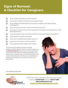 Signs of Caregiver Burnout  #checklist #tips #caregiving https://seniorsource.com/