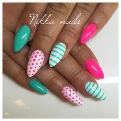 Nikka nails, summer nails, pink nails, crazy nails, aquamarine, tyrquoise, neon nails