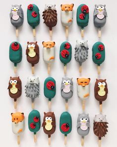 Woodland animal cake popsicles by R A Y R A Y (@rymondtn)