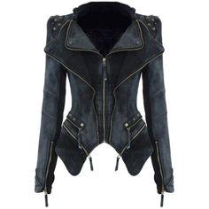Womens Sharp Studded Shoulder Lapel Zipper Denim Jacket Black ($68) ❤ liked on Polyvore featuring outerwear, black, denim jacket and jean jacket