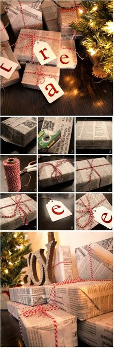 newspaper, bakers twine, and monogrammed gift tags