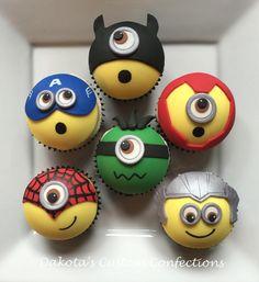 Superhero minion cupcakes - Visit to grab an amazing super hero shirt now on sale! Minion Cupcakes, Kid Cupcakes, Fondant Cupcakes, Baking Cupcakes, Cupcake Cookies, Super Hero Cupcakes, Birthday Cupcakes, Cupcakes Bonitos, Cupcakes Decorados