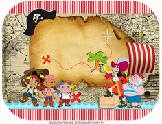 "Kit Artes Digitais ""Jake e os Piratas"" - Convites Digitais Simples Pirate Theme, Pirate Party, Pirate Invitations, Partys, Neverland, Peter Pan, 2nd Birthday, Angry Birds, Party Time"