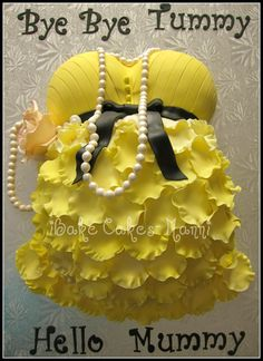 Pregnant belly cake- with ruffle skirt and pearls by www.ibakecakes.ca