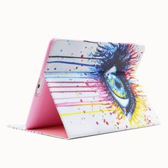 For iPad 4/3/2 Color Eye Pattern Leather Case with Holder & Card Slots & Wallet