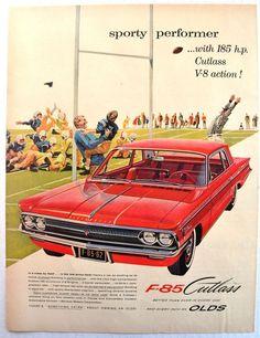1962 Oldsmobile Olds Cutlass V8 Convertible F-85 Vintage Print
