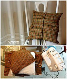 from jacket to cushion, sewing, cijecam re-design