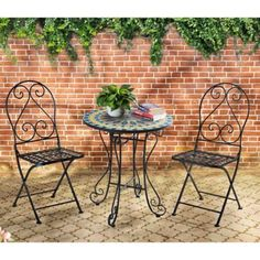 Mosaic Bistro 3-Piece Outdoor Table and Chairs Set - BedBathandBeyond.com