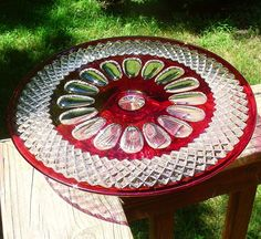 Westmoreland Wakefield/Waterford Ruby Stained Cake Stand/Plate/Salver