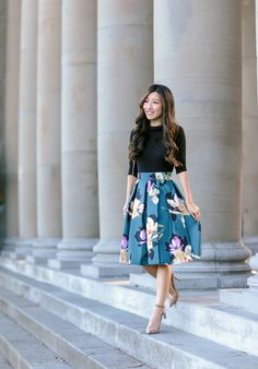 A line flared skirt petite outfit at golden gate park