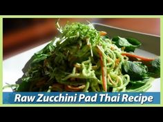Zucchini Pad Thai With Citrus Ginger Dressing - Raw Vegan Recipe | Dressing: 1/2 cup of fresh OJ, 1/3 cup fresh coconut meat, 1/2 cup cilantro, 1/3 cup chopped scallions, 2 Tbsp fresh lemon juice, 1 1/2 Tbsp raw tahini, 2-3 leaves of fresh sage, 1 quarter sized slice of ginger | Noodles: 4 cup spiral zucchini, 1/2 cup spiraled or shredded carrot, 1/3 red pepper sliced very thin