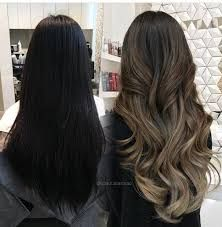 Image result for dark brown balayage on black hair straight