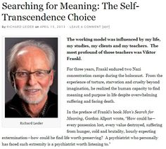 Searching for Meaning: The Self-Transcendence Choice - Click to read the full article