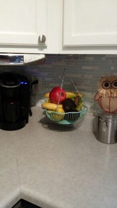 DIY Under Cabinet Hanging Fruit Basket Storage Mint Green Kitchen