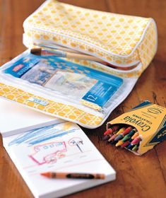 Makeup Case as Art Supply Storage    Now that your travel toiletries have taken up residence in a plastic bag, stash markers and colored pencils where the makeup brushes used to, and tuck stickers and stamps into the case's smaller compartments.