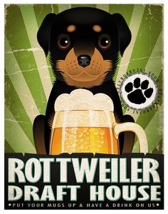 Rottweiler Drinking Dogs Original Art Poster by DogsIncorporated, $29.00
