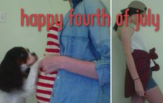 Three different looks for the fourth of July! Featuring my pregnant belly and my puppy Kingston trying to play with the kicking baby.
