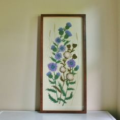 Vintage Framed Floral Crewel Embroidery by tracinicole on Etsy, $115.00