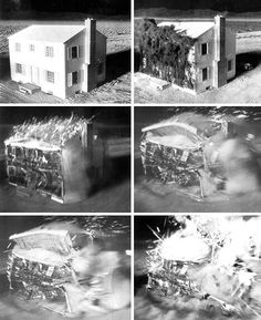 A frame-by-frame picture of a building during a nuclear blast in Survival Town a nuclear test site in Nevada constructed to determine the effect of a nuclear bomb on the average American town Nuclear Test, Nuclear Bomb, Nuclear Energy, Nevada Test Site, E Mc2, Atomic Age, Weird Stories, Cold War, Explosions