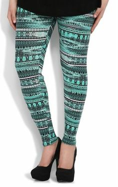 Wet Seal Women's Rainbow Ombre Tribal Plus Size Leggings OSFA ...