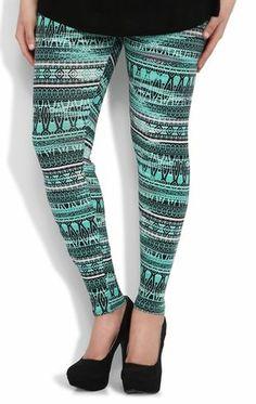 Deb Shops Plus Size #Legging with #Mint Blurred #Aztec Print $16.90
