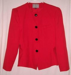"""Gorgeous Tailored Red Blazer by La Suit Size 12 Fits to 40"""" Bust Free Shipping Price:US $17.99"""