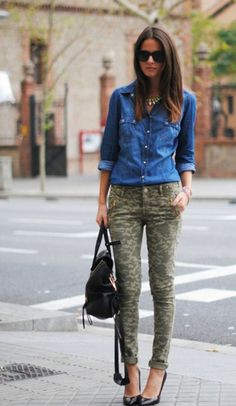 Denim button down and camo skinny jeans. Outfit
