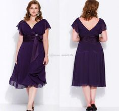 purple tea length dresses | All Size Tea-Length Reference Images 2014 Sexy Purple Mother of the ...