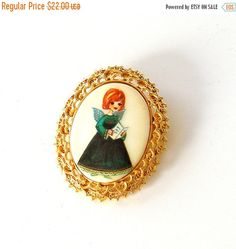 SALE Vintage Christmas Angel Pin Tanger ll Signed Hand Painted Holiday Brooch by retrogroovie on Etsy https://www.etsy.com/listing/256443182/sale-vintage-christmas-angel-pin-tanger