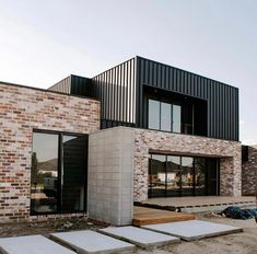 Building A Deck 543528248778459448 - ok now close your eyes, imagine greenery, grass, finished decking, timber blades in that opening on the second level and not one bit of… Source by jonatthanb Modern Brick House, Modern House Facades, Modern House Plans, Modern House Design, Best Home Design, Contemporary Design, House Cladding, Facade House, Timber Cladding