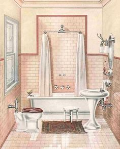 Game of Thrones. 1906 Bathroom with a tankless Pressure-valve toilet.
