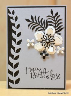 A very striking birthday card using the Stampin' Up! Botanical Builder Framelits Dies. www.janbcards.com